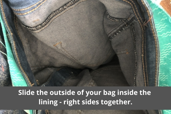 make a bag from a denim skirt- bag lining