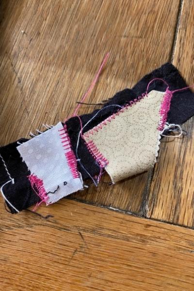 scrap fabric edging test strip for applique