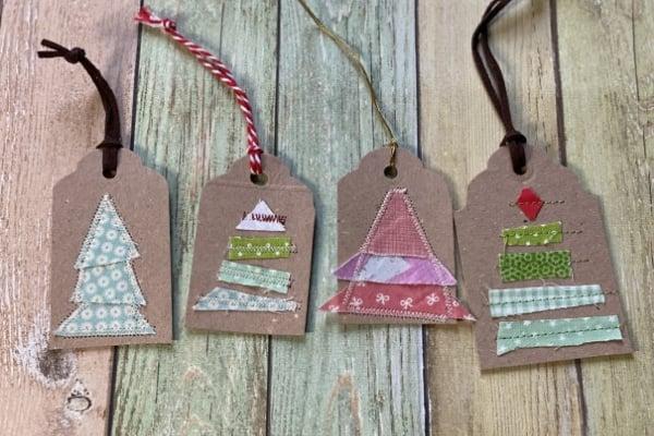 diy christmas tree gift tags with fabric