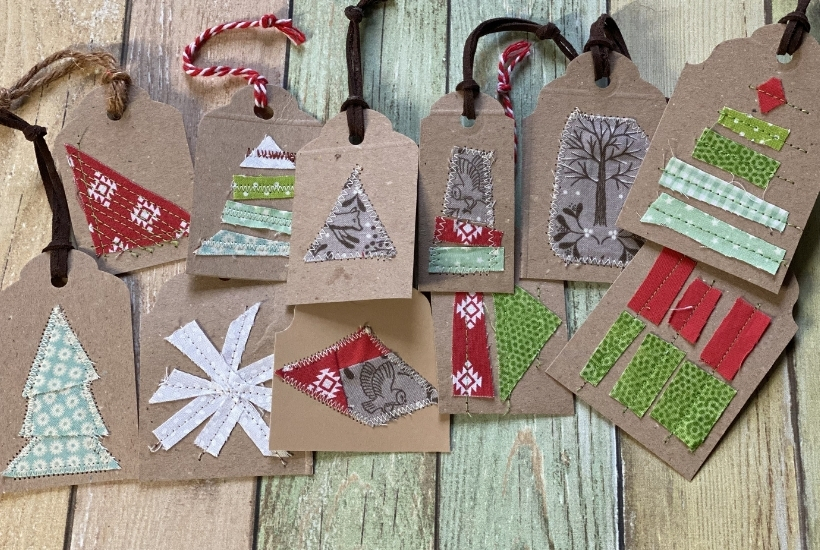 diy christmas gift tags from cardboard and scrap fabric