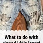 repairing kid's jeans visible mending