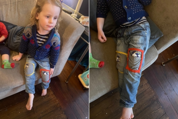 patched kids jeans