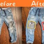 visible mending reverse applique on kids jeans