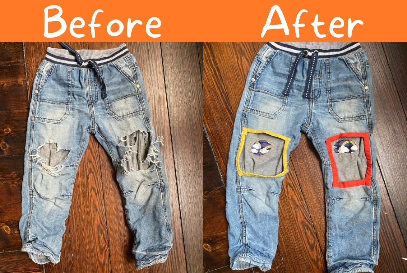 visible mending reverse applique on kids jeans