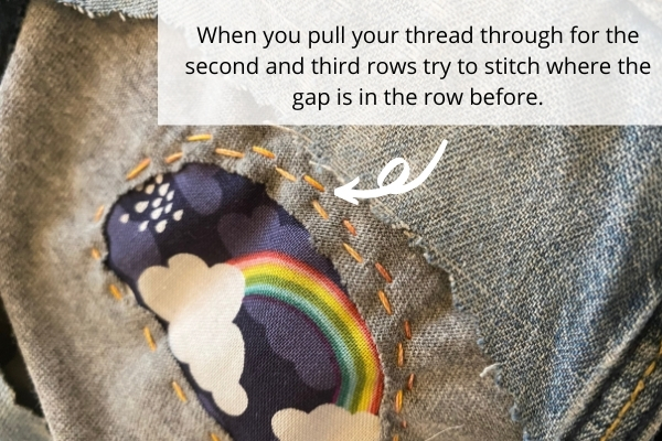 visible mending running stitches