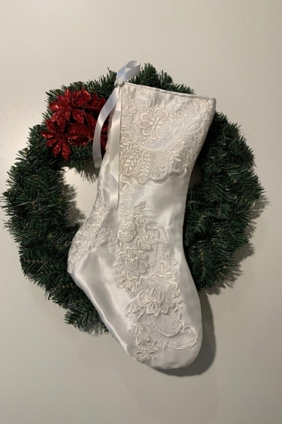 christmas stocking from a wedding dress