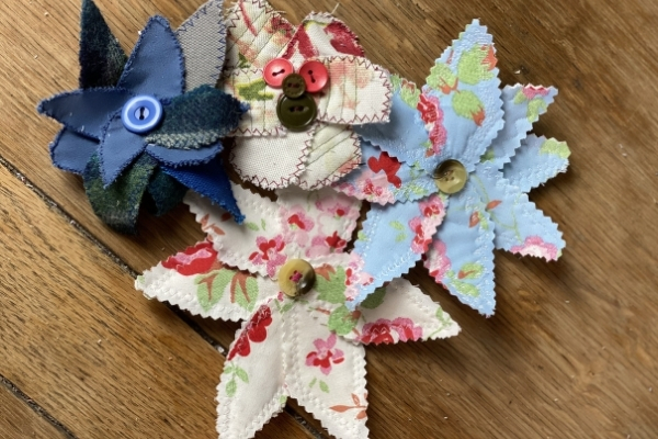 scrap fabric flowers with buttons