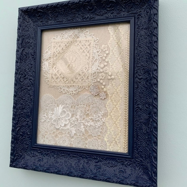 how to upcycle a wedding dress - framed wall art