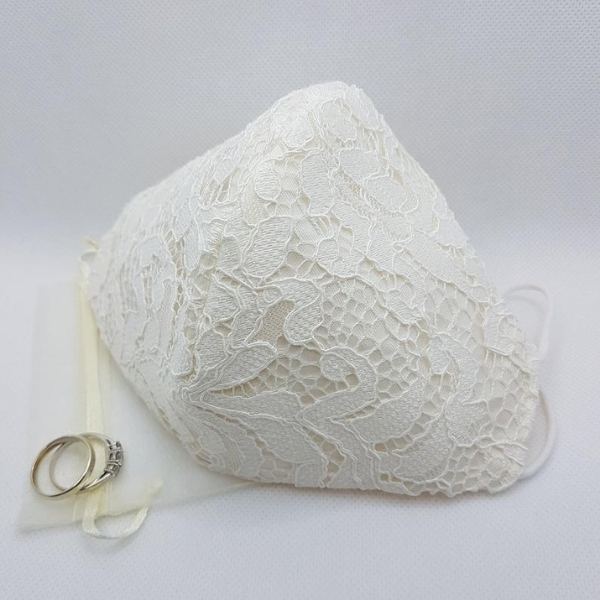 lace face mask wedding dress