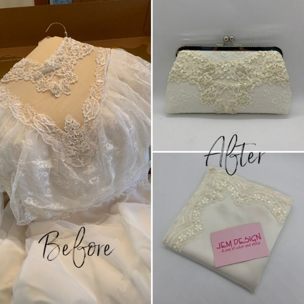 purse made from an old wedding dress