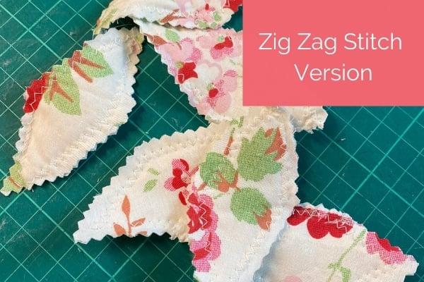scrap fabric flowers - zig zag stitch