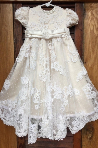 repurposed wedding dress - christening gown