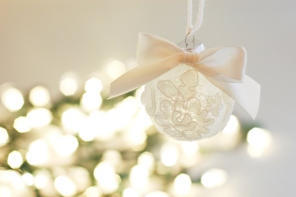 repurposed wedding dress christmas ornament