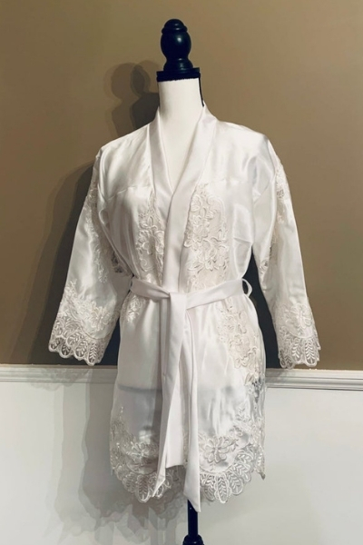 repurposed wedding dress - satin robe