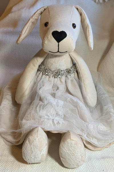 repurposed wedding dress soft toy puppy