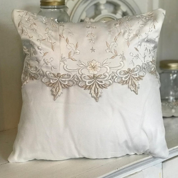 wedding dress throw pillow
