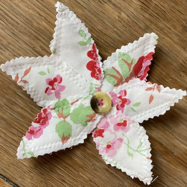 white scrap fabric flower