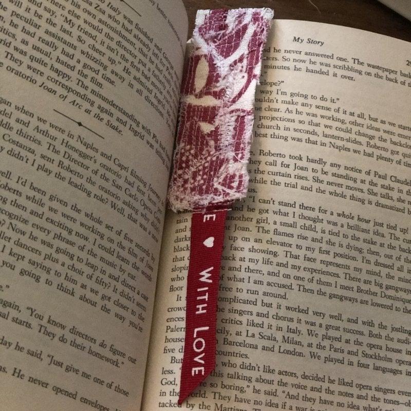 scrap fabric bookmark