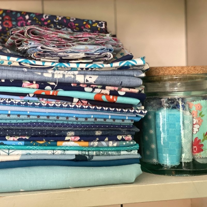 fabric storage sewing room