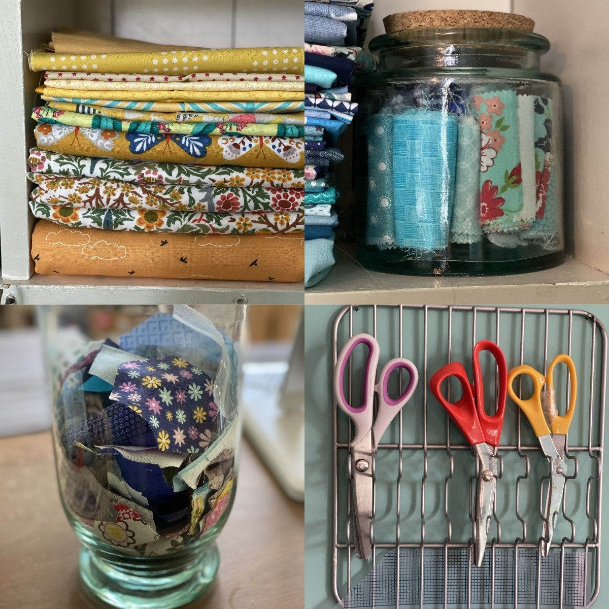 Vintage Sewing Box Craft Supply Bin Scrap Container