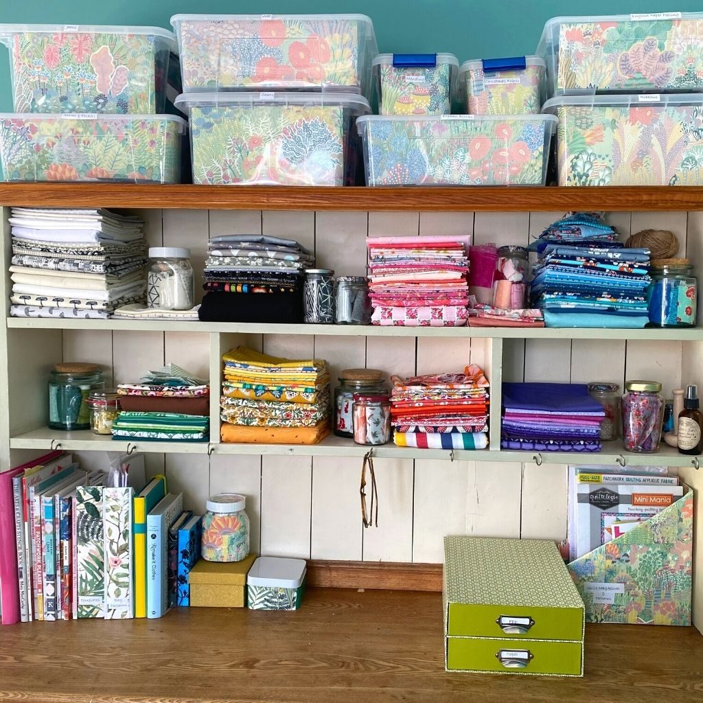 sewing room storage with magazine holders