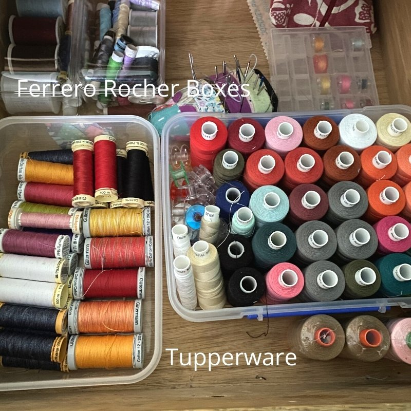 upcycled storage containers for thread sewing room