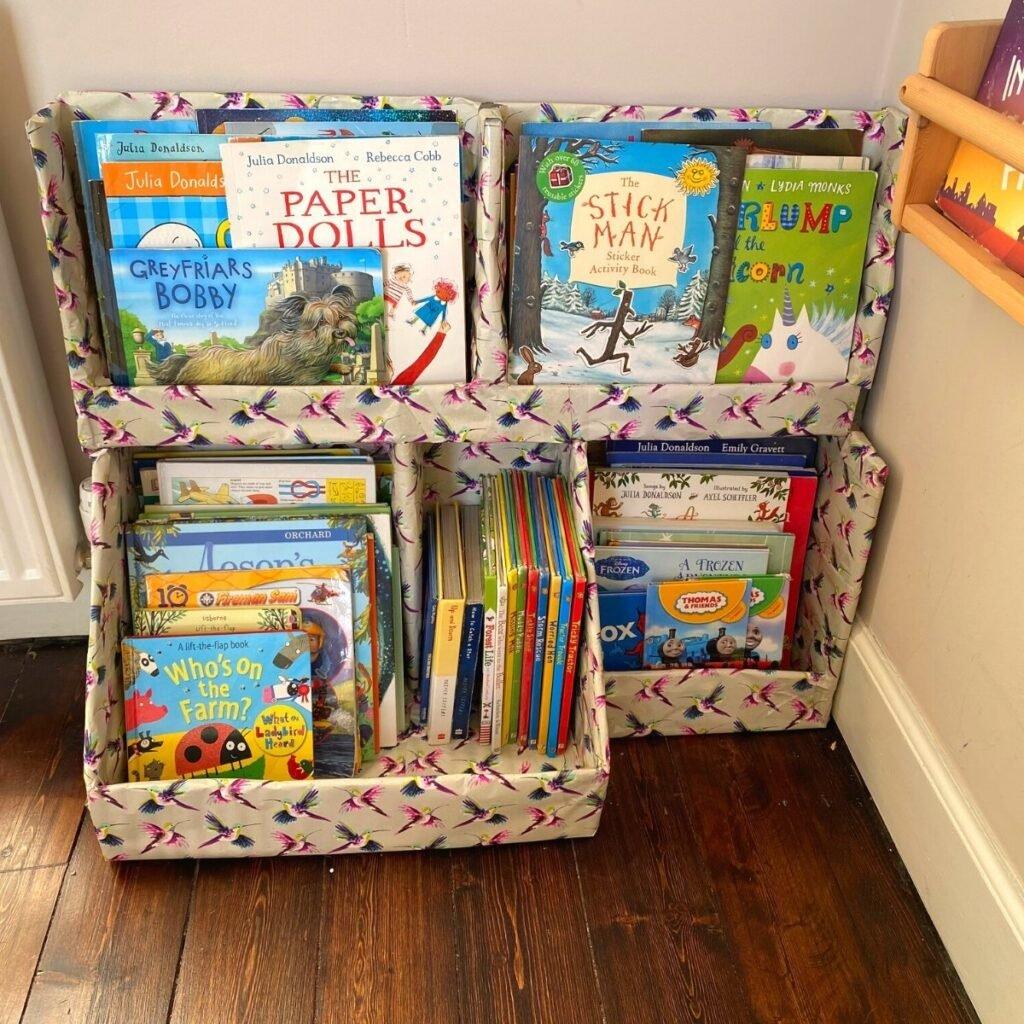 diy cardboard bookcase for kids