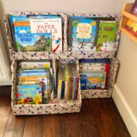 diy cardboard bookcase for kids