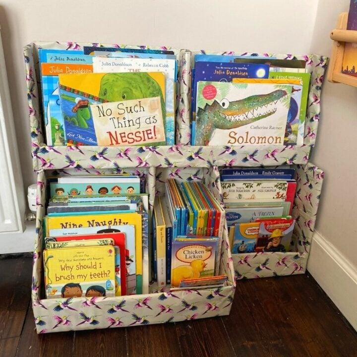 diy cardboard bookshelves