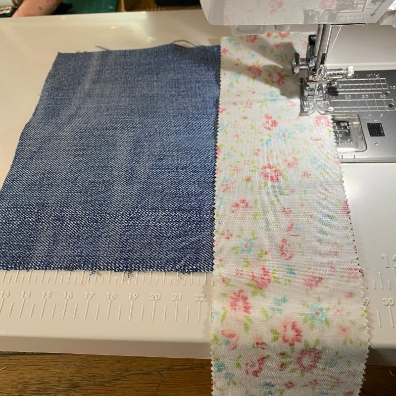 chain piecing denim quilt