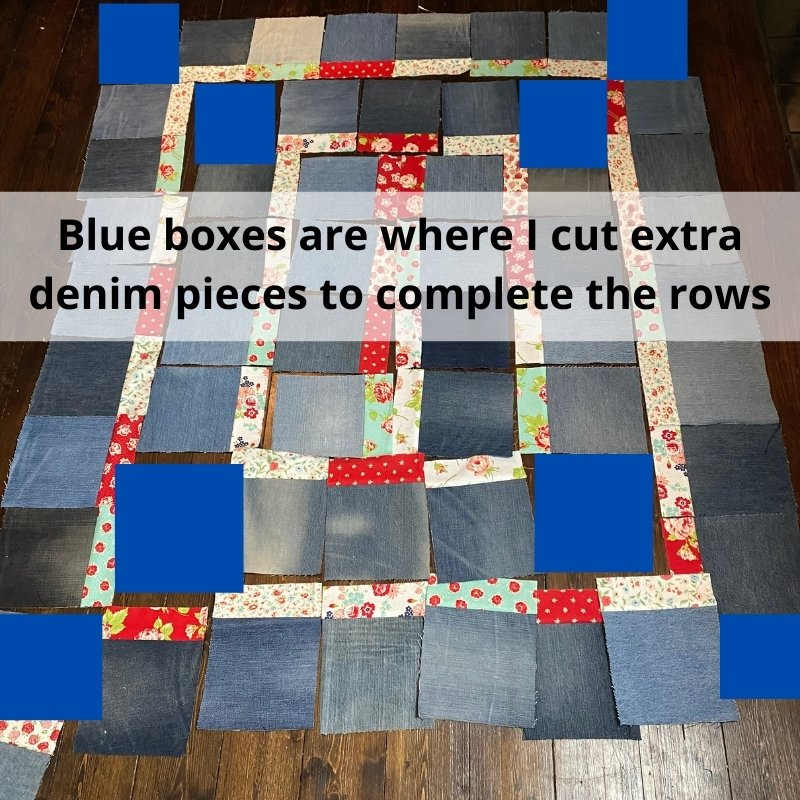 denim quilt layout