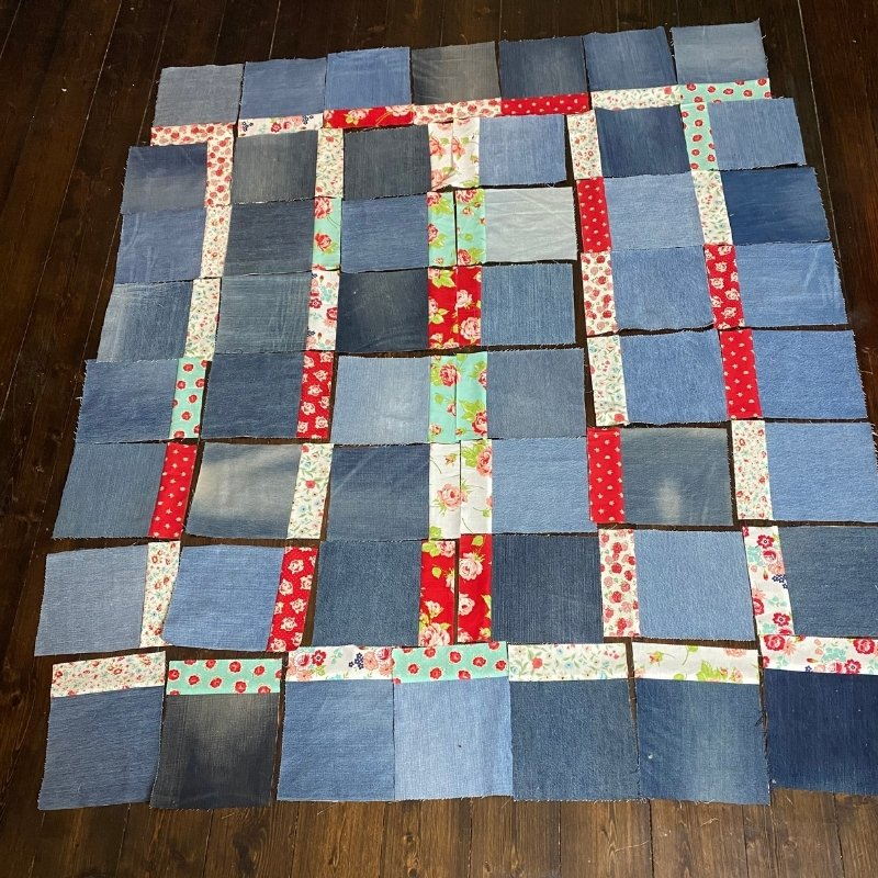 denim quilt layout options