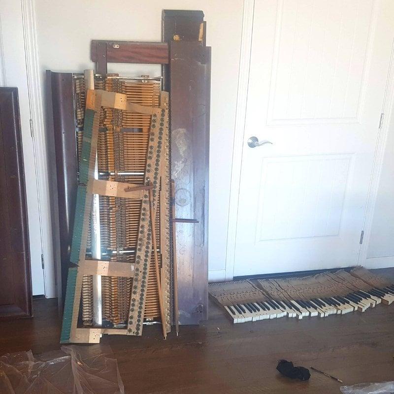 disassembled piano parts