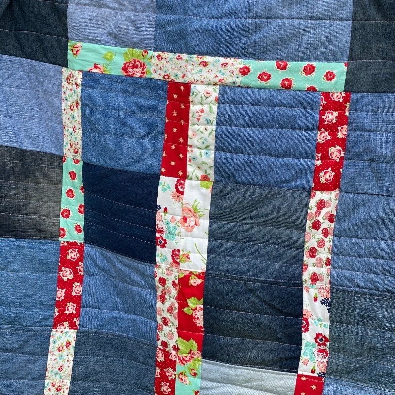 quick denim quilt - quilting lines