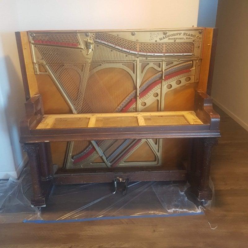 repurposed piano bar - plexiglass