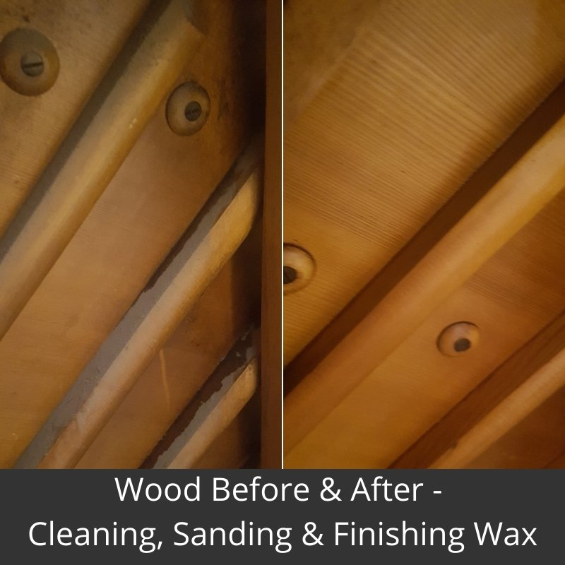 repurposed piano bar wood before & after