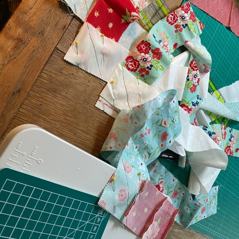 scrappy binding chain piecing strips