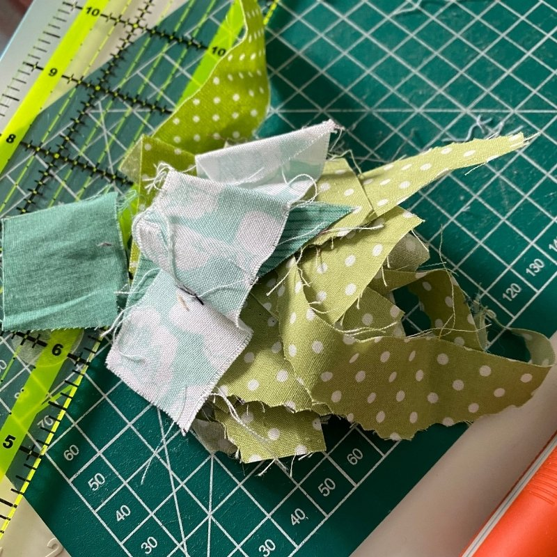scrappy blocks from green fabric