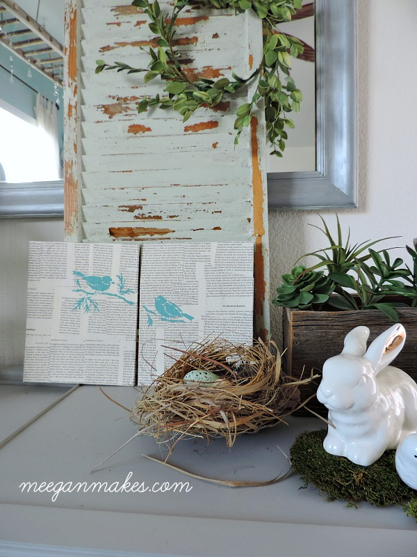 Stenciled Birds on a Book Page Canvas