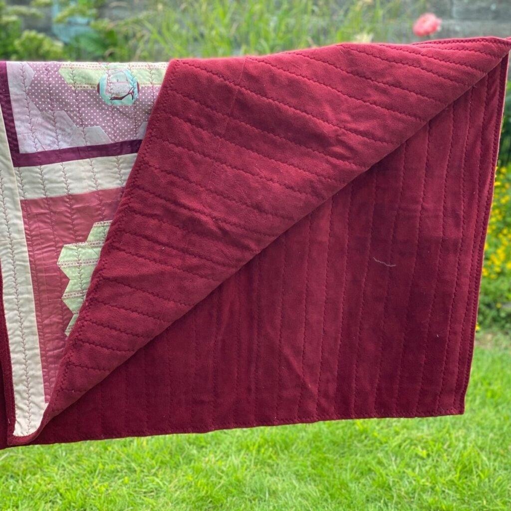 decorative stitch quilting through fleece