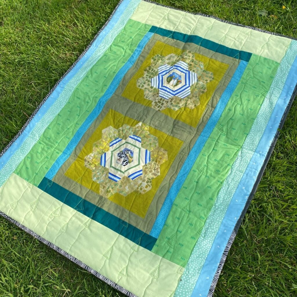 fleece backed lap quilt with cotton binding