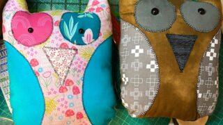 scrap fabric owl stuffed toy tutorial